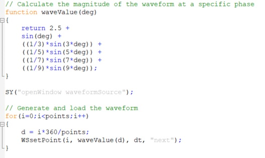 Here is an example script that creates a square wave by combining sine waves up to the 9th harmonic: