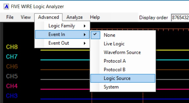 select the Logic Source event as an input to the Logic Analyzer tool.
