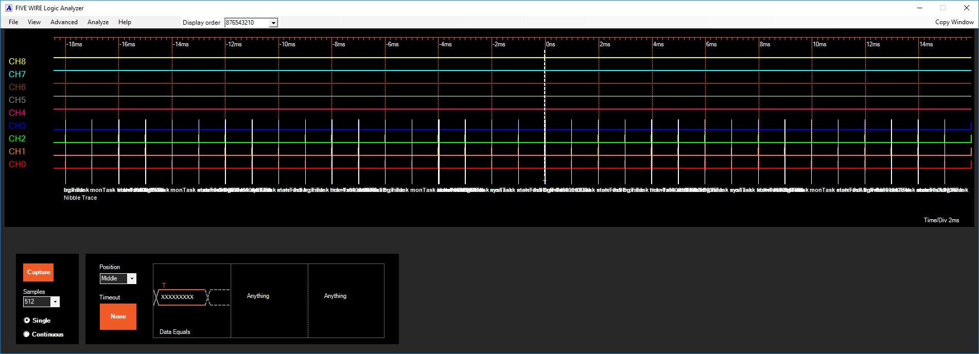 An example of capturing a span of time from an ST32F429 running 5 threads in FreeRTOS.